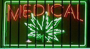 Medical marijuana neon sign at a disp...
