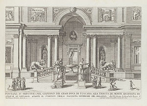 Villa Medici - The villa's Loggia dei leoni in 1691, then including the original Medici lions