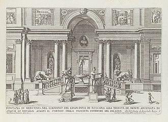 Villa Medici - The villa's Loggia dei leoni in 1691, then including the original Medici lions