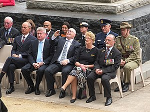 Jacqui Lambie - Lambie (back row; middle) attending the unveiling ceremony for memorial wall and the Corporal Cameron Baird plinth in Burnie, Tasmania.