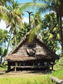 Men's house in Tambunum village, Sepik River, Papua New Guinea (rear view).jpg