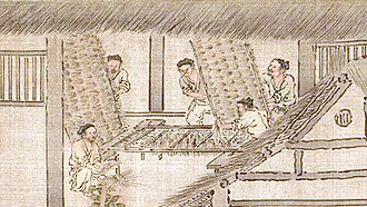 Sericulture - Image: Men preparing twig frames where silkworms will spin cocoons (Sericulture by Liang Kai, 1200s)