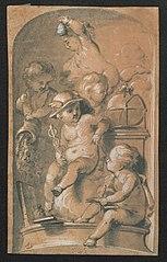 Mercurius als kind met andere figuren
