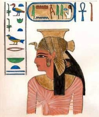 Meritamen - Queen Meritamen as depicted in QV 68. Painting after drawing by Lepius