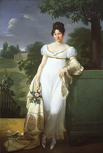 "Empire silhouette - French lady in 1808; the style was often accompanied by a shawl or similar wrap, or a short ""Spencer"" jacket, as the dresses were light and left much uncovered"