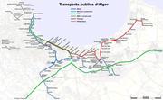 Metro, suburban train and tramway map of Algiers