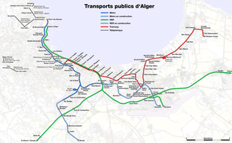 Public transport of Algiers Metro, suburban train and tramway map of Algiers.png