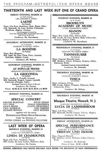 Giulio Gatti-Casazza - Gatti-Casazza's last week at the Met (22–29 March  1935)