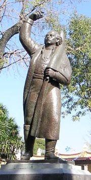 A statue of Miguel Hidalgo.