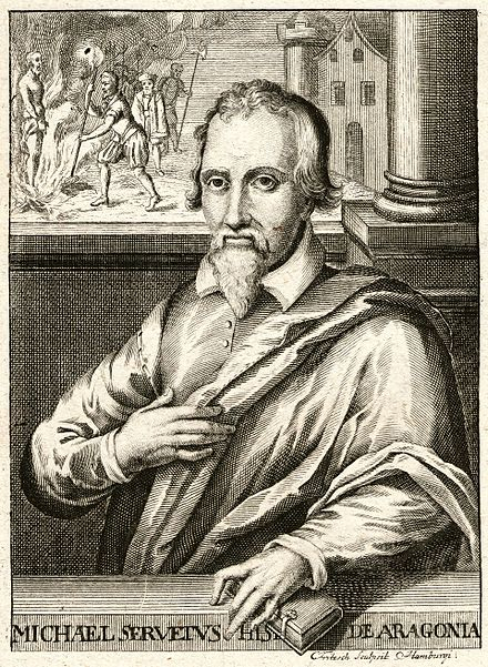 Michael Servetus exchanged many letters with Calvin until he was denounced by Calvin and executed. Michael Servetus.jpg