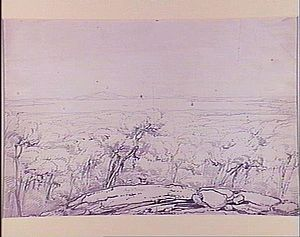 "Recherche Archipelago - A drawing from the Westall collection with the title ""Middle Island, view north to Cape Arid""."