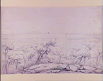 """Recherche Archipelago - A drawing from the Westall collection with the title """"Middle Island, view north to Cape Arid""""."""