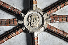 Middle keystone in the Chapel of St. Anne in Malbork showing Jesus Christ.jpg