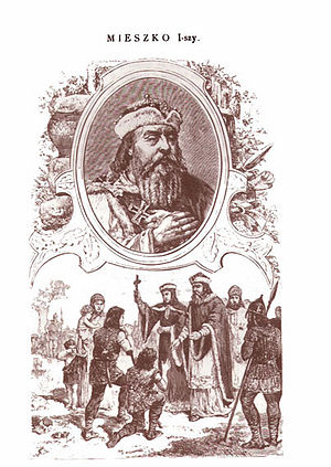 Mieszko I of Poland - 19th century illustration: Mieszko, a former pagan, aided by his Roman Catholic Czech wife Dobrawa, daughter of Boleslaus I, becomes an evangelist of Roman Catholicism