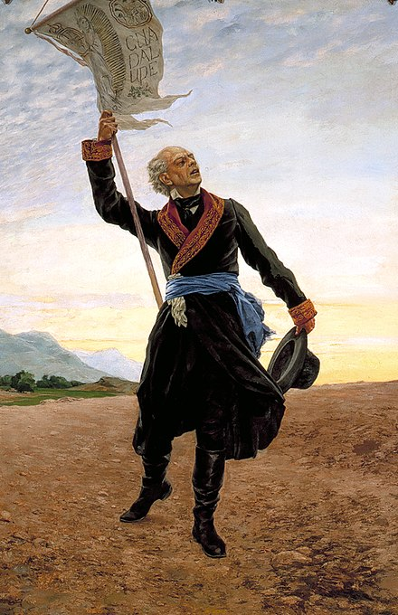 Hidalgo, as the father of Mexico, carying his banner with the image of Our Lady of Guadalupe (painting by Antonio Fabres) Miguel Hidalgo con estandarte.jpg