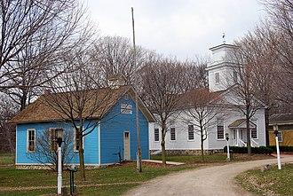 Northville, Michigan - Mill Race Historical Village - Wash-Oak School and New School Church