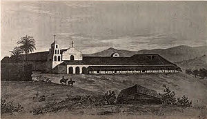 "Mission San Diego de Alcalá - A painting of Mission San Diego de Alcalá as it appeared in 1848 depicts the original campanario (""bell tower""), before it was reduced to rubble. The painting also shows the enclosed front portico."