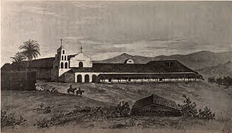 California - Mission San Diego de Alcalá drawn as it was in 1848. Established in 1769, it was the first of the California Missions.