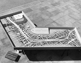 Interstate 275 (Florida) - Model of the Downtown Distributor (ca.1960), from Malfunction Junction (right) to Hillsborough River (upper left).