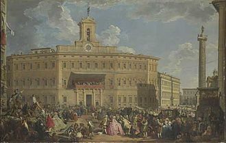 Column of Antoninus Pius - The column's base (right foreground, showing one of the decursio sides), in Panini's 1747 painting of the Palazzo Montecitorio, with the Column of Marcus Aurelius in the background.