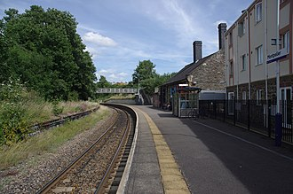 Montpelier railway station - Looking east along the platform. The disused northern platform can be seen on the left.