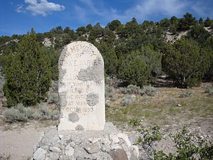 Black Hawk War (1865–72) - Monument to remember first settlers killed by Indians in Manti, Utah on Oct. 4, 1853.