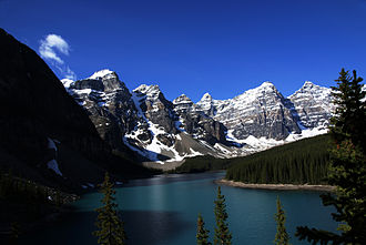 Moraine Lake - Moraine Lake from the Rockpile, Valley of the Ten Peaks, Alberta, Canada