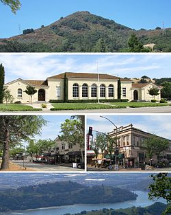 Clockwise: El Toro Mountain, Historic Morgan Hill Stratford School, Vowtaw Building, Anderson Lake, view of downtown.
