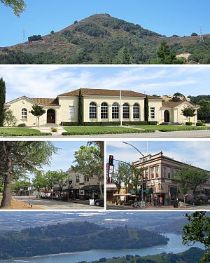 Morgan Hill, California - Top to bottom: El Toro, Historic Morgan Hill Stratford School, view of downtown (L), Vowtaw Building (R), Anderson Lake.