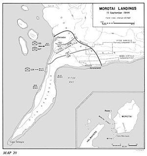 A map of south-west Morotai illustrating the locations where the three US Army regiments landed on 15 September, their D-Day objectives and the locations of the landing beaches and airfields named in the text.