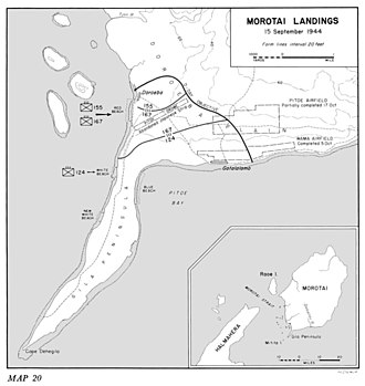 Battle of Morotai - Locations of the Allied landings on 15 September 1944
