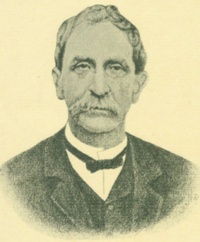 Sepia photograph of Morrison Foster with a suit, small bowtie, and thick moustache