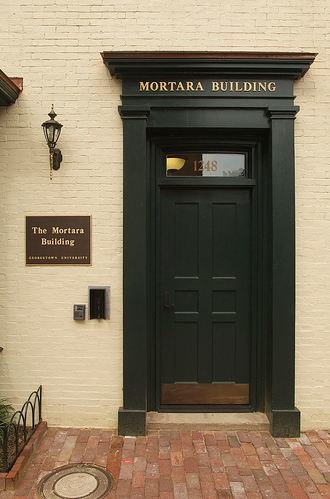 Mortara Center For International Studies - The entrance to the Mortara Building at 3600 N Street, NW in Washington, DC.