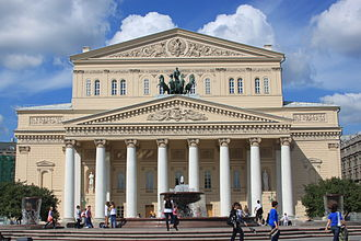 "The Bolshoi Theatre in Moscow, where the 1965 production of The Rite was described by a critic as ""Soviet propaganda at its best"" Moscow Bolshoi Theatre 2011.JPG"