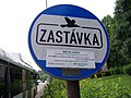 Most, Rudolická, zastávkový sloupek Kavka, vývěska ČSAD autobusy Plzeň.jpg