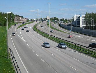 Finnish national road 4 - Image: Motorway 4 in Helsinki Finland