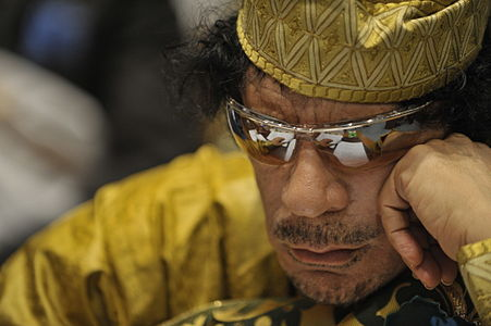 Muammar Qaddafi, the Libyan chief of state, attends the 12th African Union Summit in Addis Ababa, Ethiopia, Feb. 2, 2009. Qaddafi was elected chairman of the organization.