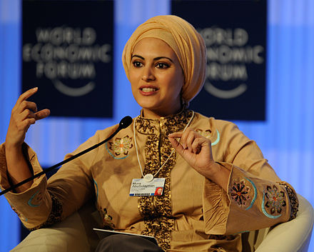 Muna AbuSulayman wearing a turban Muna AbuSulayman - World Economic Forum on the Middle East, North Africa and Eurasia 2012.jpg