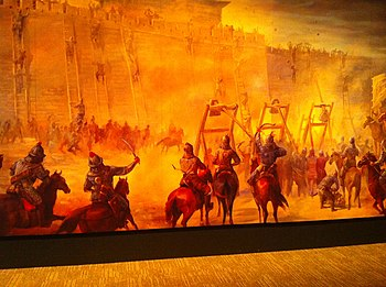 Mural of siege warfare, Genghis Khan Exhibit, Tech Museum San Jose, 2010.jpg