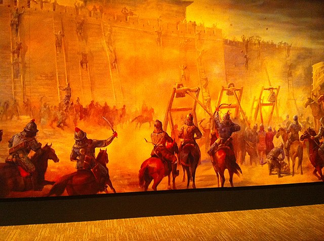 Mural of siege warfare, Genghis Khan Exhibit, Tech Museum San Jose, 2010
