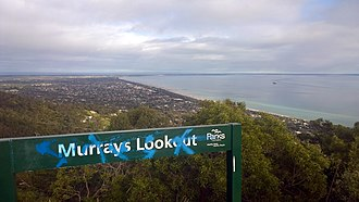 Arthurs Seat, Victoria - The metal signage that replaced the wooden signage towards the summit in an attempt to reduce vandalism maintenance. Murrays lookout, Arthurs Seat, Victoria, Australia. 2014.