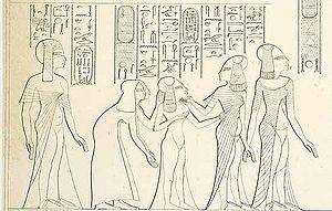 Mutbenret - Mutbenret behind Meritaten, Meketaten and Ankhesenpaaten and their nurses. Award scene of Parennefer. (From Lepsius Denkmäler)