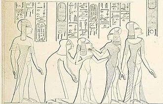 Mutbenret - Mutbenret behind Meritaten, Meketaten and Ankhesenpaaten and their nurses. Award scene of Parennefer. (From Lepsius Denkmäler)