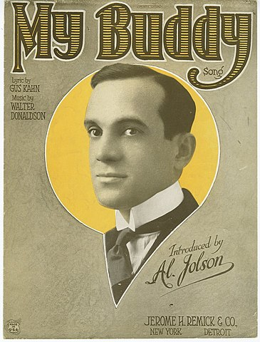 My Buddy sheet music cover Al Jolson 1922.jpg