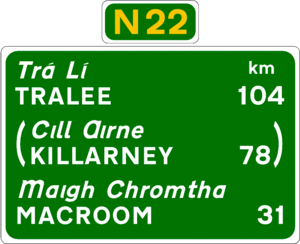 N22 road (Ireland) - N22 Route Confirmation Sign