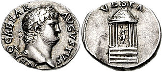 Vesta (mythology) - Coin issued under Nero: the reverse depicts the cult statue of Vesta, holding a patera and scepter, within her hexastyle temple.