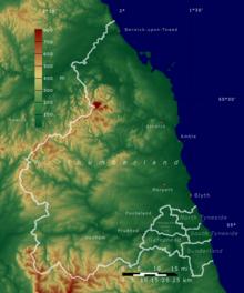 Map Of England Northumbria.Northumberland Wikipedia