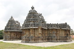 Nageshvara (near) and Chennakeshava (far), 1200 C.E., in Mosale, Hassan district