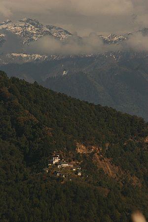 Nalanda Buddhist Institute, Bhutan - View of Nalanda Buddhist Institute from Dochu La (pass)