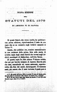 Nani, Cesare – Nuova edizione degli statuti del 1379 di Amedeo 6. di Savoia, 1884 – BEIC 14509697.jpg
